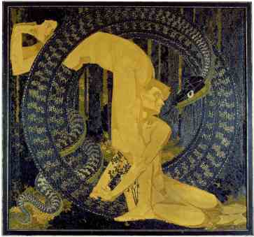 Augusto Giacometti, Adamo ed Eva / Adam und Eva, 1907, olio su tela, 173x185 cm, Kunsthaus Zürich, Zurigo Cat. 214