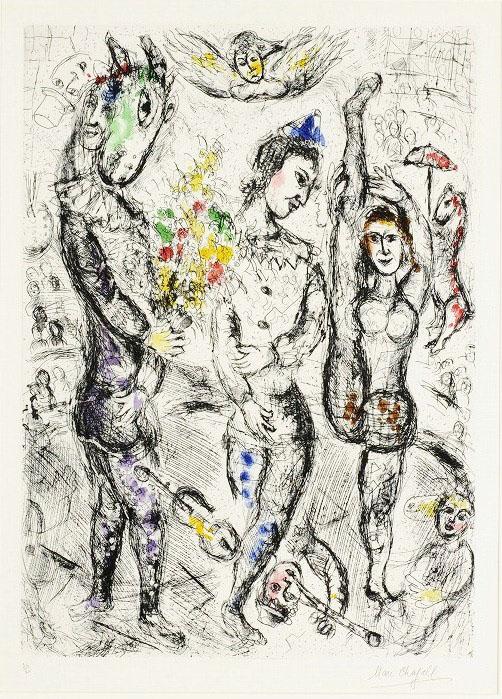 Marc Chagall, Le pierrot, 1968, Acquaforte e acquatinta, cm 93.6x75.3 il foglio, 66.5x48.2 la parte incisa Courtesy Libreria Antiquaria il Cartiglio, Torino