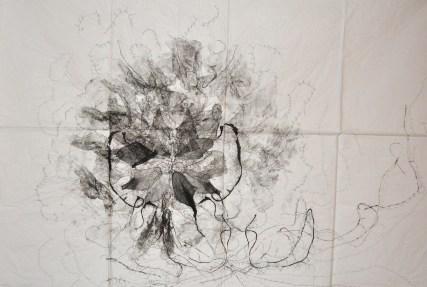 Eva Reguzzoni, Orchidacea in pensiero, 2013, garza, inchiostro e filo ricamato su carta velina piegata Courtesy dell'artista