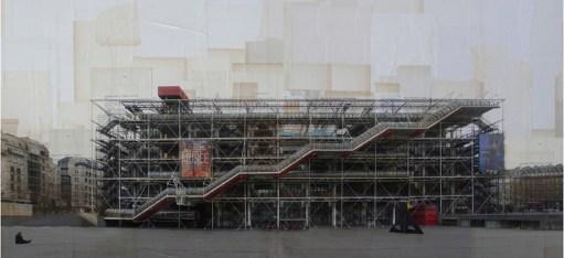 Nicolò Quirico, Parigi, Centre Pompidou 2013 stampa fotografica su collage di pagine di libri d'epoca cm. 95 x 200