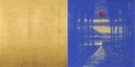 Omar Galliani, Nuovi Mantra per Mosca, pastello e oro su tavola, cm 100x200