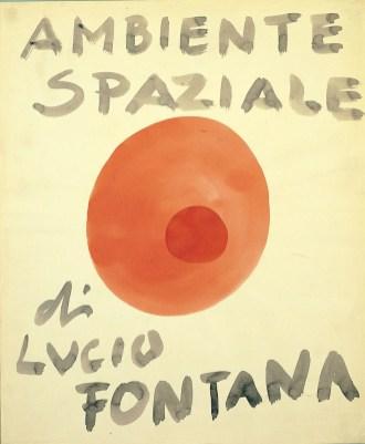 Lucio Fontana, Ambiente spaziale, 1949, china rossa e blu su carta, 46.5x37.5 cm (49 DCSA 3)