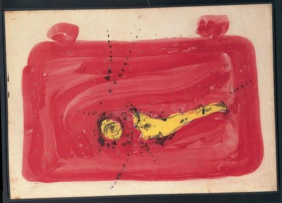 Lucio Fontana, Concetto spaziale, 1954, buchi e gouache su carta incollata successivamente, su tela, rosso, giallo e nero, 50x70 cm (54 DSP 11)