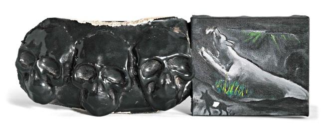 Enzo Cucchi, Quadro Politico Svizzero 12, 2010, olio su tela e ceramica/ oil on canvas and ceramic, cm 14 x 42,5. Courtesy Galleria Poggiali e Forconi.