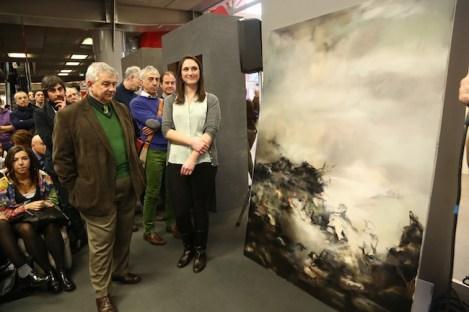 Arte Fiera, premiazione Euromobil, Duccio Campagnoli e la vincitrice Nazzarena Poli Maramotti Foto Nucci/Benvenuti