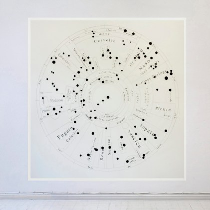Maria Lucrezia Schiavarelli, Medesimi Rapporti, 2012, matita e inchiostro su pvc e scotchtape, 200x200 cm, Courtesy Villa Contemporanea