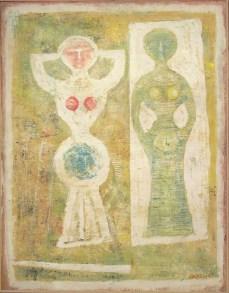 Massimo Campigli, Danzatrice Bianca, 1960, olio su tela, 89x116 cm Courtesy Galleria Tega, Milano