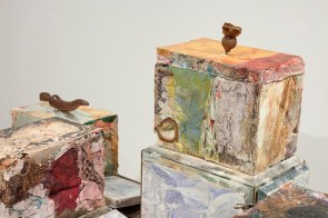 Gabriele Silli Organo del sommerso nei bagni tripudio caustico-cloridrici (Detail), 2014 9 objects made out of paper, resins, creams, textiles, animal leathers, cement installed on an iron table with glass containers approximately 25 x 30 x20 cm each photo by Federico Maria Tribbioli courtesy Federica Schiavo Gallery, Roma
