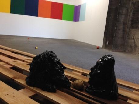 Michelangelo Consani, The Caspian Depression, 2013, marmo nero del Belgio, legno, patate, colore, dimensioni variabili, Courtesy Side 2 Gallery, Tokyo