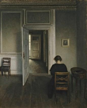 Vilhelm Hammershøi, Interiør med siddende kvinde, 1908, olio su tela, Aarhus –ARoS Aarhus Kunstmuseum