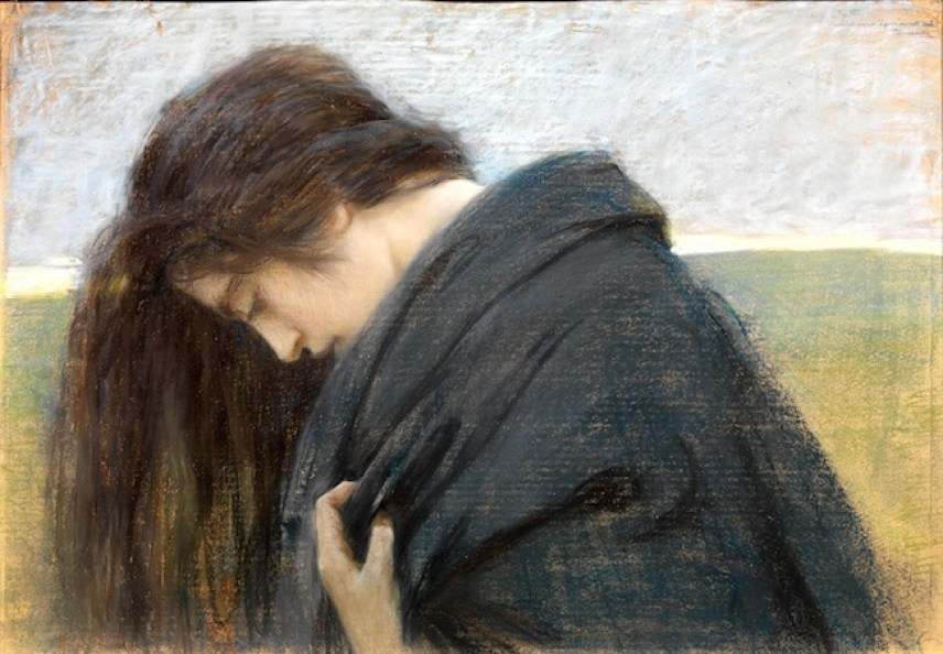Cesare Laurenti, Volto femminile reclinato, 1903, Pastello su carta, Padova, Galleria Nuova Arcadia