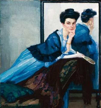 Leo Putz, Signora in blu, 1908, Olio su tela, Merano (BZ), Collezione Siegfried Unterberger