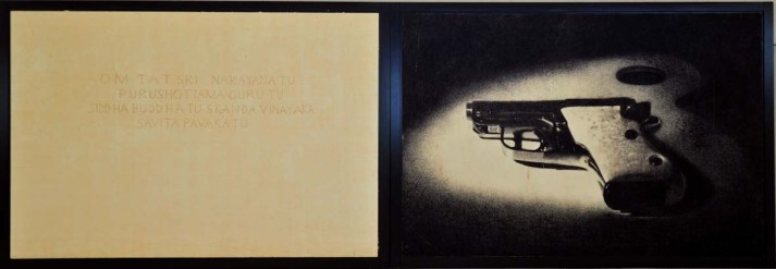 Omar Galliani, dalla serie Mantra, 1997-1999, 220x640 cm con cornice