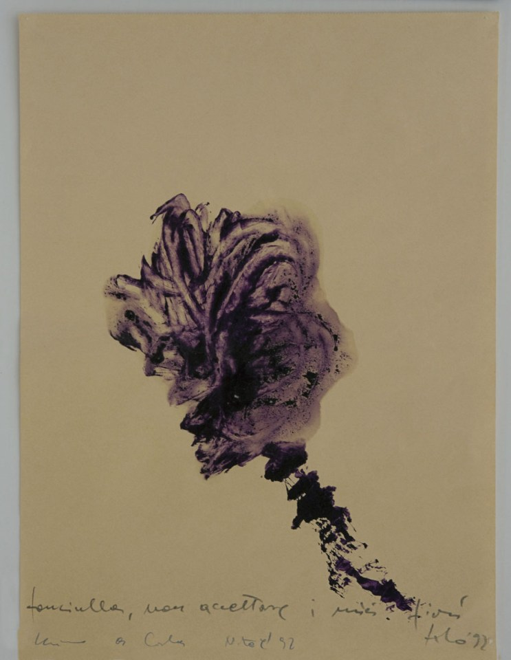 Luciano Fabro, Fanciulla, non accettare i miei fiori, 1992, acrilico e grafite su carta, 40x30 cm, Collezione privata Foto: Annalisa Guidetti e Giovanni Ricci, Milano