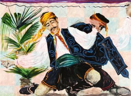 Aldo Mondino, Erzurum, olio su linoleum, 140x190 cm
