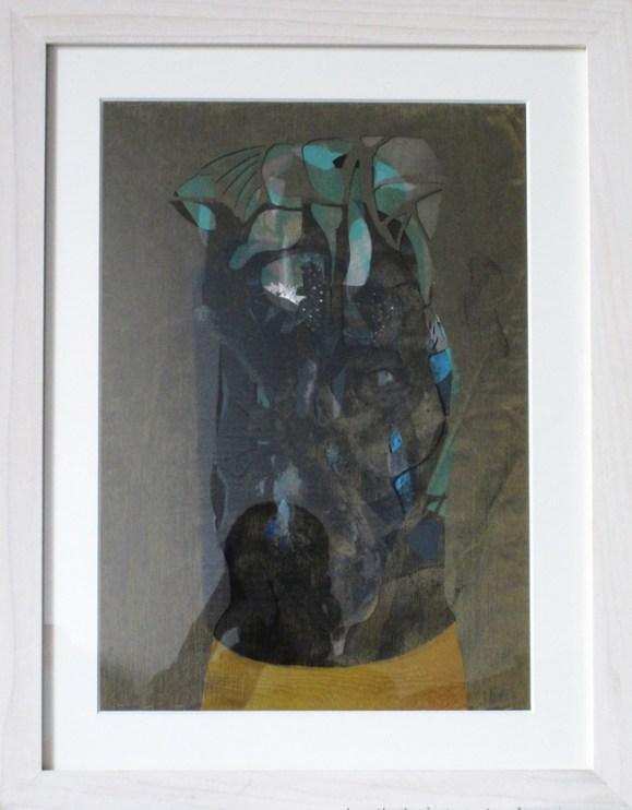 Alessandro Roma, Senza titolo, 2012, collage, olio e organiza su carta, 35x50cm con cornice