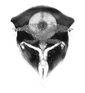 Enrica Berselli, Larynx crucifixa, 2012, rapidograph su carta, cm 40x30