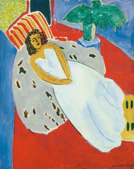 Henri Matisse, Giovane donna in bianco, sfondo rosso, 1946, olio su tela, 92x73 cm, Musée des Beaux-Arts, Lione © Succession H. Matisse by SIAE 2013