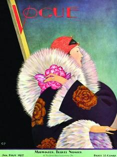 Copertina di Vogue US del 1 gennaio 1927 - illustrazione di George Wolfe Plank, Vogue © Condé Nast