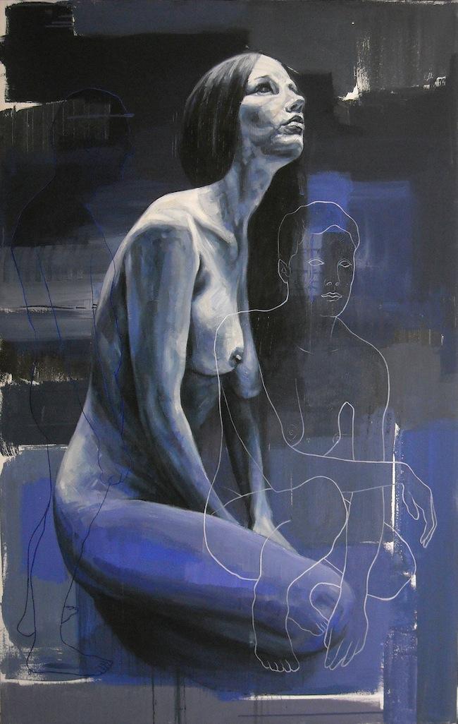 Constantin Migliorini, Lei assorta, olio acrilico su tela, cm 88x141