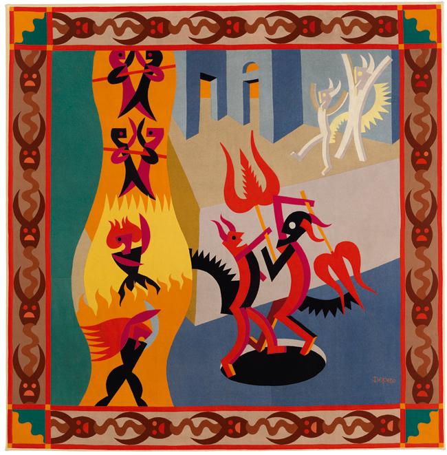 Fortunato Depero, Little Black and White Devils, Dance of Devils (Diavoletti neri e bianchi, Danza di diavoli), 1922–23, Pieced wool on cotton backing, 184 x 181 cm, MART, Museo di arte moderna e contemporanea di Trento e Rovereto, Italy, © 2013 Artists Rights Society (ARS), New York / SIAE, Rome, Photo: © MART, Archivio fotografico