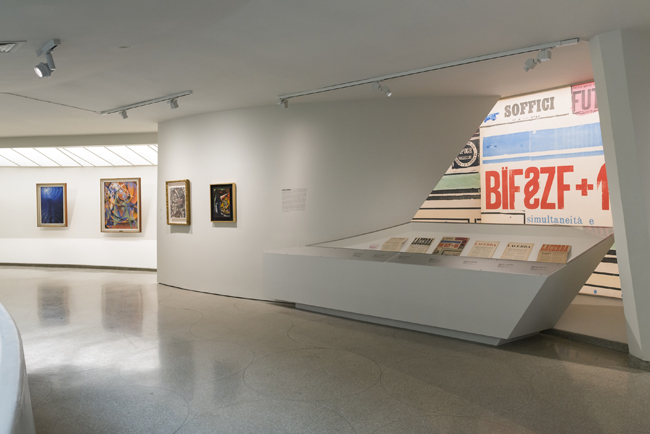 Installation view: Italian Futurism, 1909–1944: Reconstructing the Universe, Solomon R. Guggenheim Museum, New York, February 21–September 1, 2014. Photo: Kris McKay © SRGF