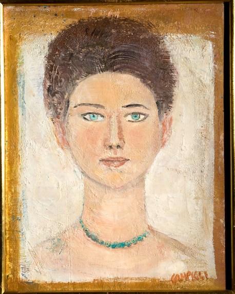 Massimo Campigli, Ritratto di Olga Capogrossi, 1959 o 1960, olio su tela