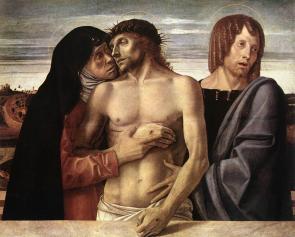 Pietà di Giovanni Bellini (o Cristo morto sorretto da Maria e Giovanni), 1465-1470, Pinacoteca di Brera