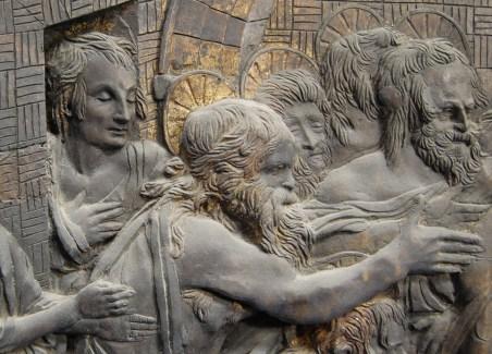 Scena della Discesa di Cristo al Limbo. Particolare prima del restauro