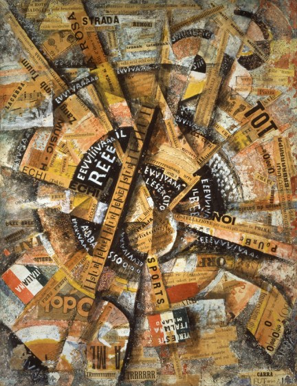 Carlo Carrà, Interventionist Demonstration (Manifestazione Interventista), 1914, Tempera, pen, mica powder, paper glued on cardboard, 38.5 x 30 cm, The Solomon R. Guggenheim Foundation, The Gianni Mattioli Collection, on extended loan to the Peggy Guggenheim Collection, Venice, © 2013 Artists Rights Society (ARS), New York / SIAE, Rome, Photo: Courtesy Solomon R. Guggenheim Foundation, New York