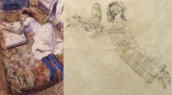 Edgar Degas / Kiki Smith Jeune fille étendue et regardant un album ca. 1889 / Sleepwalker with Owl, 2004 Pastello su carta distesa su tavola / Inchiostro su carta nepalese 99.1 x 67 cm / 185,4 x 223 cm Collezione privata, New York / Galleria Raffaella Cortese, Milano
