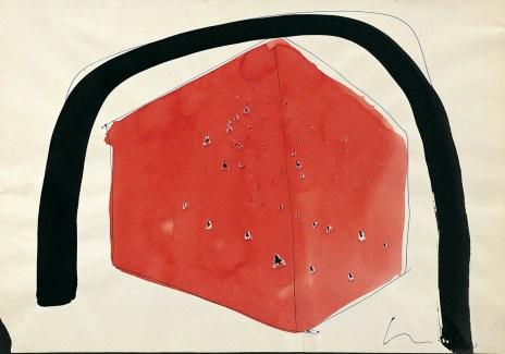 Lucio Fontana, Ambiente spaziale, 1960, penna a sfera blu, buchi, china nera e rossa su carta, 22.2x32 cm