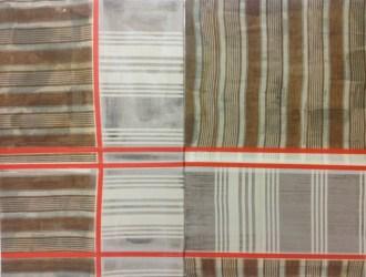 Albano Morandi, Dinamismo Plastico Instabile, cartesiane rosse (Dittico), 2014, collage, nastro adesivo e cera su stoffa e ready-made, cm 70x90
