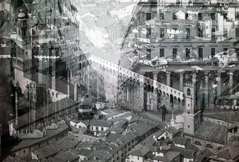 """Davide Bramante, """"My own rave"""" Vigevano/Milano (grande piazza), 2014, foto in b/n realizzata con la tecnica delle esposizioni multiple, montaggio su plexiglas, dimensioni variabili"""