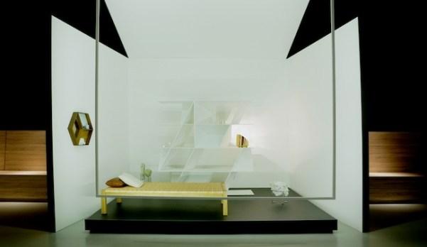 relax, Il momento del riposo, e della meditazione, è ambientato in una stanza total white con pochi pezzi essenziali: un day bed, una lampada e una libreria dalle geometrie multiple. L'arte dialoga con le proporzioni dello spazio e le sculture 'Kilimanjaro' di Alice Ronchi sono una presenza, sospesa tra natura e artificio, che trasforma il luogo del relax in un paesaggio della mente design / Poliform libreria WEB, design Daniel Libeskind Persol occhiali da vista PO3073V 24 Havana Si ringrazia: Azucena, DeCastelli, E15, Ferm Living, Credit: Ramaya production/Pietro Belfiore