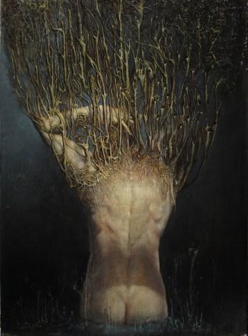 Agostino Arrivabene, Monatto e muti campanelli, 2014, olio su legno, 68x50 cm