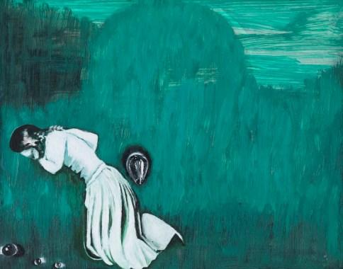 Enzo Cucchi, Senza titolo, 2013, olio su legno, 20x24.5 cm Photo Antonio Maniscalco, Courtesy FL Gallery