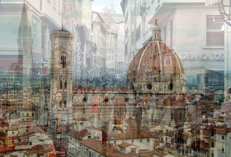 """Davide Bramante, """"My own rave"""" Firenze (Piccini - banca), 2014, foto a colori realizzata con la tecnica delle esposizioni multiple, montaggio su plexiglas, dimensioni variabili Courtesy Galleria Poggiali e Forconi, Firenze"""