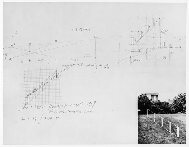 Jan Dibbets, Perspective Correction – 5 poles (Correzione prospettica – 5 pali), 1967 fotografia in bianco e nero e matita su carta / b/w photograph and pencil on paper 50 x 56 cm