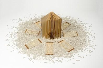 Sabrina Mezzaqui, E disse 2014 Libro intagliato (Erri De Luca, E disse, ed. Feltrinelli), migliaia di ritagli di carta stampata, ricamo, perline, colla, dimensioni variabili (libro h. 19,5 cm) Foto Rino Canobbi