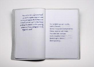 Sabrina Mezzaqui, Cucire (A.A.) 2014 Ricamo su tessuto, teca di vetro (da Antonella Anedda, Salva con nome, ed. Mondadori) 28 x 34 x 5 cm, foto Rino Canobbi, courtesy Passaggi Arte Contemporanea, Pisa