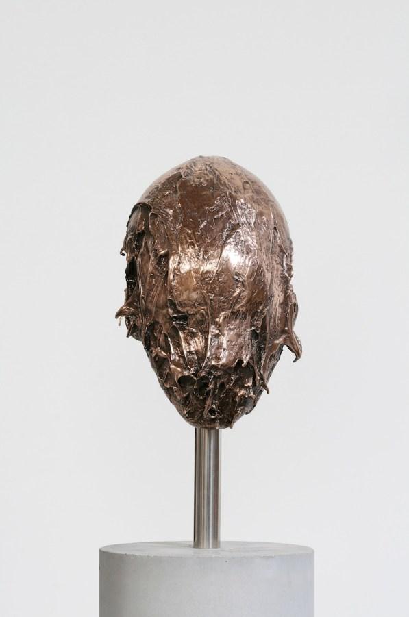 Nicola Samorì, Senza titolo (esordi di dio), 2009-2014, bronzo, cemento, acciaio, 166x21x20 cm (particolare)