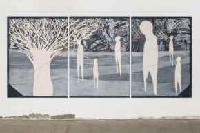 Trittico, Acrilico e smalto su carta, 435x138 cm, 2014