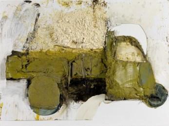 Giacomo Cossio, Verde, 2014, tecnica mista e collage su tavola, 77x103x7 cm