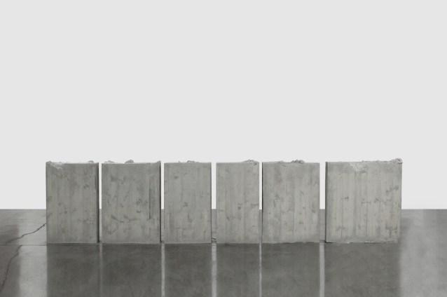 Lara Favaretto, Kicking, 2012, concrete, iron 6 parts, overall dimensions 105x500x20 cm approx., Rocío and Boris Hirmas Collection Photo Sebastiano Pellion di Persano Courtesy of the Artist and Galleria Franco Noero, Torino
