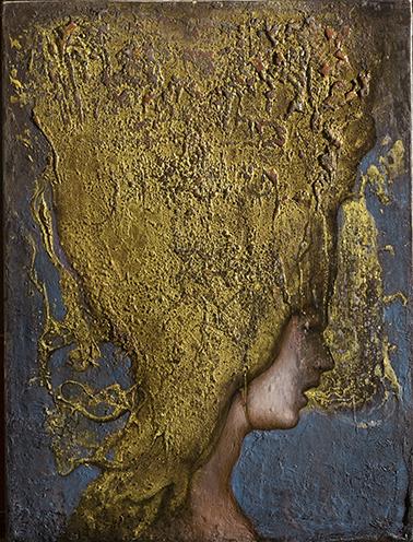 Agostino Arrivabene, Senza titolo, 2013, olio oro in foglia su legno, 47x35.5 cm