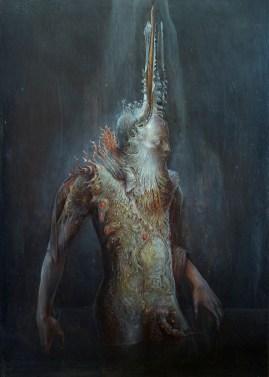 Agostino Arrivabene, L'uomo salamandra, 2014, olio su legno, 50x35 cm