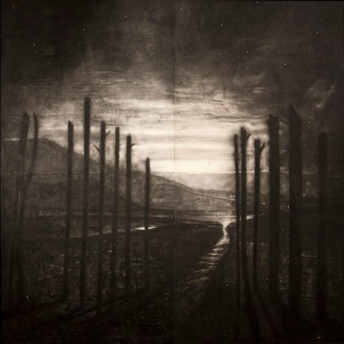Omar Galliani, Paesaggio dei miei veleni, matita su tavola, 400x400 cm