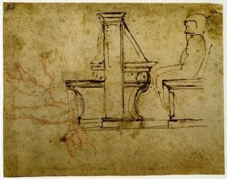 Michelangelo Buonarroti, Studio di banco con figura seduta per la Biblioteca Laurenziana 1524-1525 penna, matita rossa, mm 158x159 Firenze, Casa Buonarroti, inv. 94 A