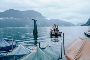 Stefano Ferretti e Alex Dorici, Save the Whale, 2014, sagex scolpito, ricoperto da carta pesta grossa, rifinitura in resina acrilica, 720x400 cm (diametro alla base 200 cm) Courtesy Area Turismo ed Eventi, Lugano